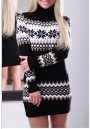 Black Geometric High Neck Long Sleeve Pullover Sweater