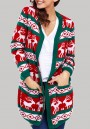 Green Floral Pockets Long Sleeve Christmas Cardigan Sweater