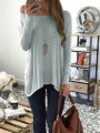 Grey One Off Shoulder Draped Irregular Casual Slouchy Pullover Sweater