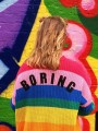"Red ""BORING"" Print Rainbow Striped Long Sleeve Single Breasted Casual Sweater"