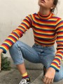 Red Rainbow Striped Print Crop Honey Girl Cute Casual Knitwear Jumper  Pullover Sweater 40f8d9175