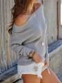 Grey Patchwork Off Shoulder Long Sleeve Fashion Pullover Sweater