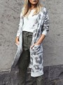 Grey Leopard Print Pockets Long Sleeve Cardigan Sweater
