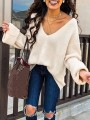 White V-neck Long Sleeve Going out Casual Pullover Sweater