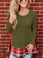 Green Plaid Pleated Long Sleeve Round Neck Casual Sweaters Pullover