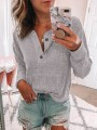 Grey Pockets Long Sleeve Casual Sweet Going out Pullover Sweater