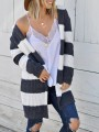 Dark Grey White Striped Hooded Long Sleeve Casual Cardigans Sweater
