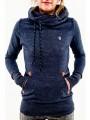 Blue Animal Pockets Badge Drawstring Hooded Long Sleeve Casual Hooded Sweatshirt