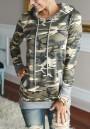 Green Camouflage Pockets Hooded Long Sleeve Fashion Sweatshirt