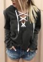 Black Drawstring Hooded Long Sleeve Casual Pullover Sweatshirt