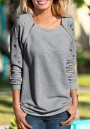 Grey Studded Zipper Long Sleeve Casual Pullover Sweatshirt