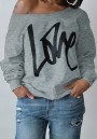 Grey Love Letter One-Shoulder Round Neck Long Sleeve Fashion Sweatshirt