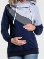 Multicolor Patchwork Drawstring Cut Out Hooded Long Sleeve Pullover Sweatshirt