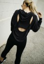 Black Cut Out Pockets Hooded Long Sleeve Fashion Pullover Sweatshirt