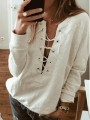 Grey Drawstring Round Neck Fashion Pullover Sweatshirt