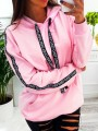 Pink Drawstring Pockets Long Sleeve Fashion Pullover Hoodie Sweatshirt