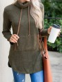 Army Green Pockets Drawstring High Neck Casual Sweatshirt