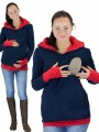 Red Blue Polka Dot Cut Out Pockets Zipper Hooded Casual Maternity Sweatshirt
