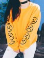 Yellow Flowers Print Round Neck Long Sleeve Fashion Sweatshirt