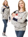 Light Grey Flowers Print Pockets Round Neck Long Sleeve Casual Maternity Sweatshirt
