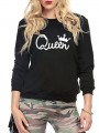 Blue Letter Print Long Sleeve Round Neck Going out Sweatshirt