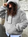 Grey Pockets Drawstring Hooded Long Sleeve Oversize Casual Sweatshirt