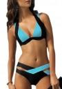 Black-Blue Patchwork Irregular Condole Belt Fashion Swimwear