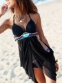 Black Patchwork Irregular Cut Out Condole Belt Swimwear