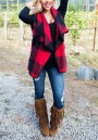 Red-Black Plaid Print Pockets Turndown Collar Fall Cardigan Vest
