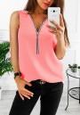 Pink Zipper V-neck Fashion Vest