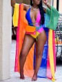 Orange Color Block Striped Lace-Up Deep V-neck Three Piece Rainbow Beachwear Swimwear