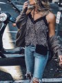 Black Leopard Lace Cut Out Casual Sweet Going out Vest