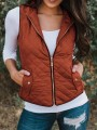 Orange Zipper V-neck Casual Sweet Going out Outdoors Vest