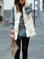 White Yellow Patchwork V-neck Faux Fur Fashion Vest