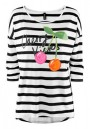 Colorful Cherry Print Striped Seven's Sleeve Spandex T-Shirt