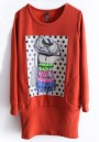Red Lovely Print Stright Thick Cotton T-Shirt