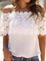 White Patchwork Lace Boat Neck Chiffon T-Shirt