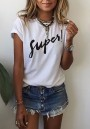 White Monogram Round Neck Short Sleeve Loose Casual T-Shirt