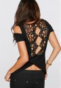 Black Patchwork Lace Hollow-out Backless Round Neck Sexy T-Shirt