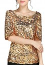 Golden Plain Sequin Round Neck Elbow Sleeve Plus Size Fashion T-Shirt