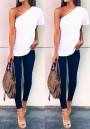 White Plain Asymmetric Shoulder Short Sleeve Fashion T-Shirt