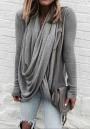Grey Irregular Draped Collar Long Sleeve Fashion T-Shirt