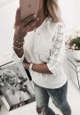 White Patchwork Lace Print Ruffle Round Neck Casual T-Shirt