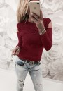 Wine Red Lace Cut Out Round Neck Fashion T-Shirt