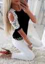 Black Patchwork Lace Cut Out Pearl Round Neck Fashion T-Shirt