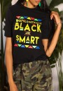 Black Monogram BLACK AND SMART Print Going out Casual T-Shirt