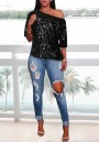 Black Sequin One-shoulder Half Sleeve Sparkly Casual Birthday Party T-Shirt