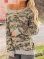 Camouflage Patchwork Boat Neck Long Sleeve Casual T-Shirt