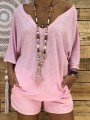Pink V-neck Loose 3/4 Sleeve Casual T-Shirt