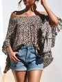 Brown Leopard Ruffle Boat Neck Elegant T-Shirt